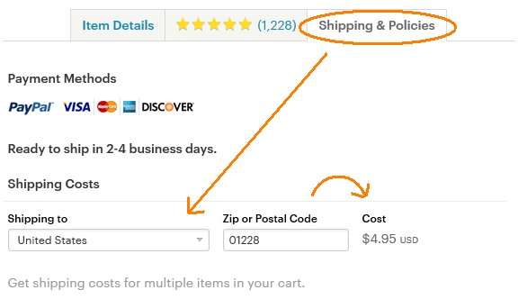 Etsy Shipping Cost Screencap