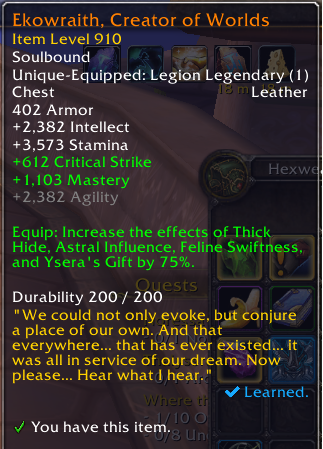 WoW Legion Random Drop Legendary Chest