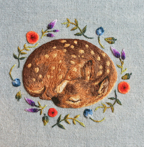 Chloe Giordano Sleeping Fawn Greetings Card
