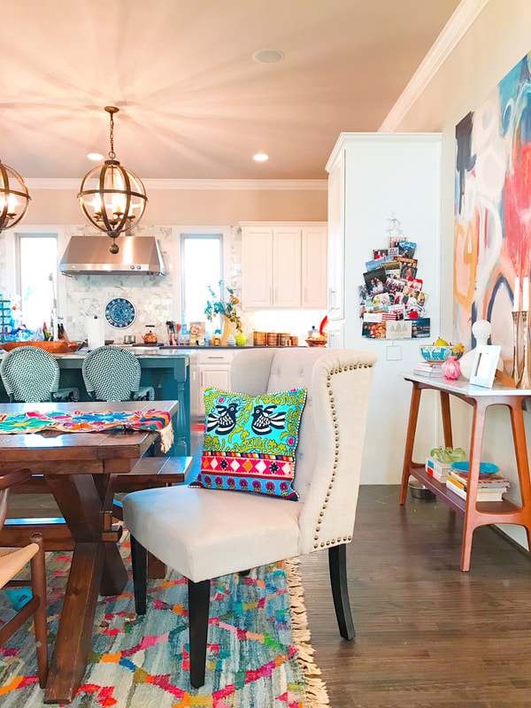 Shauna Glenn Design Dining w Blue Bright Rug