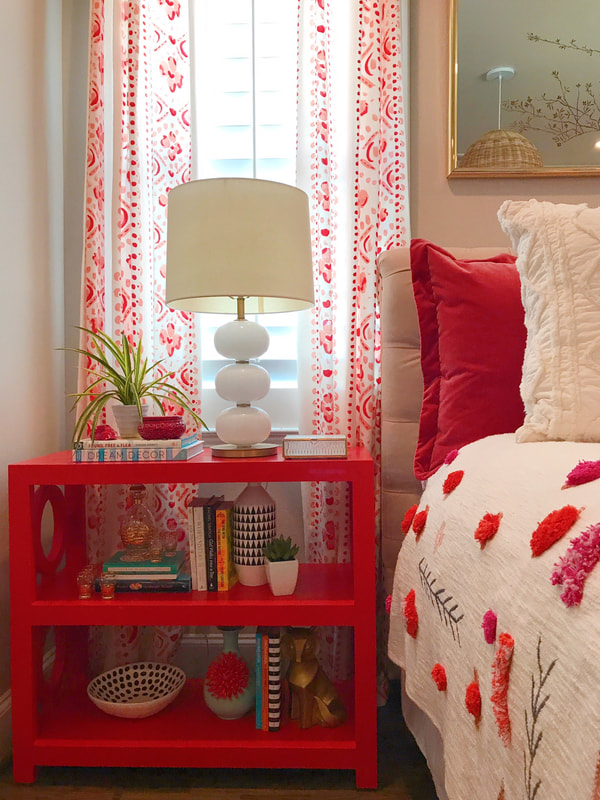 Shauna Glenn Design White Red Fuchsia Bedroom