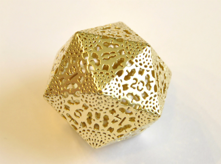 Shapeways Majestic Trinkets D20 Lace Brass