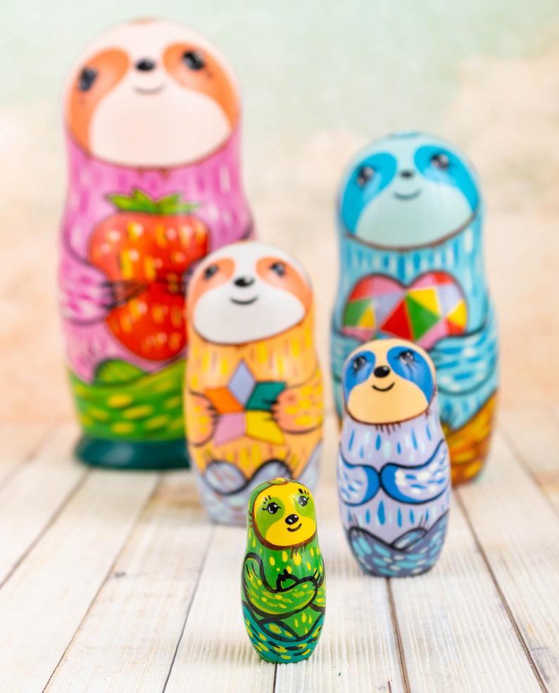 Etsy FirebirdWorkshop Yulia Sloth Matryoshka